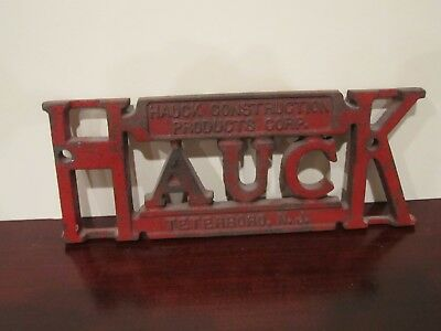 Vintage HAUCK CONSTRUCTION PRODUCTS CORP. Cast Iron Sign