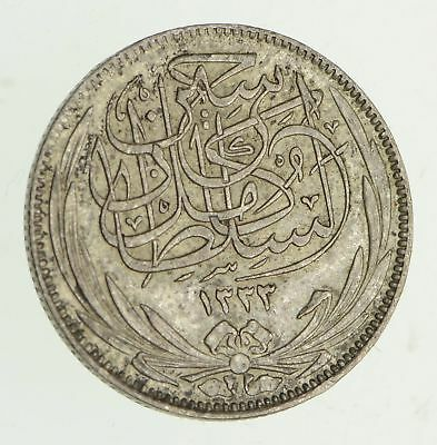 Roughly Size of Dime - 1917 Egypt 2 Piastres - World Silver Coin *455