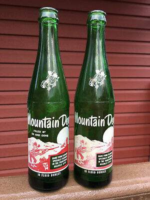MOUNTAIN DEW Hillbilly Bottles Vintage MT. DEW Bottles (2) Ed & Gene 1960's USED