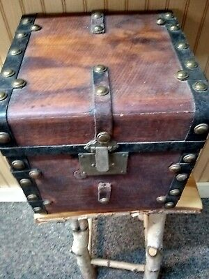 early 1800s beautiful very unusual wood iron brass trunk with original label
