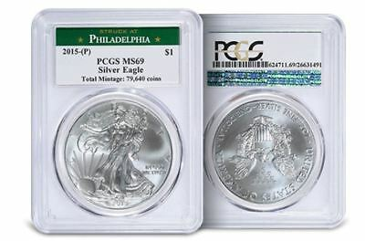 2015 (P) American Silver Eagle PCGS MS-69 **THE RAREST MINT STATE EAGLE EVER**