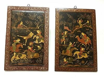 LARGE FINE PAIR ANTIQUE PERSIAN QAJAR ISLAMIC PAINTED WOODEN PLAQUES By IMAMI?