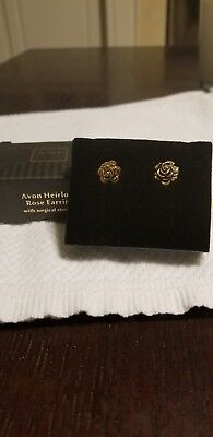 Avon Heirloom Rose Earrings with Surgical Steel Posts