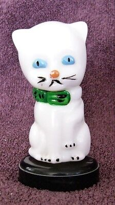 Vintage  White Milk Glass  KITTY CAT KITTEN  Handpainted PERFUME BOTTLE   3.5""
