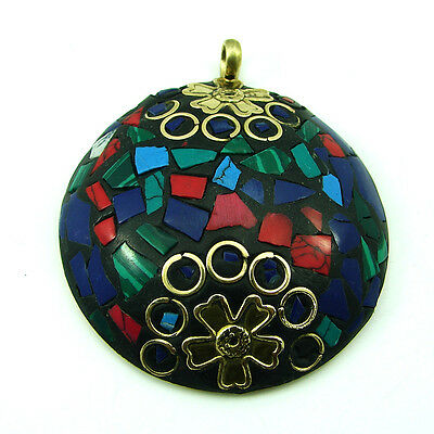 Solid Brass Multi Color Gemstone Antique Ethnic Vintage Nepali Pendant 277