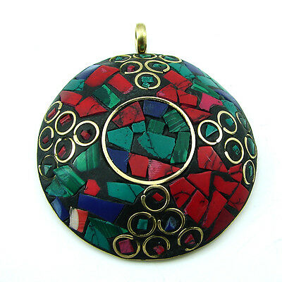 Solid Brass Red Coral Gemstone Antique Ethnic Vintage Nepali Pendant 282