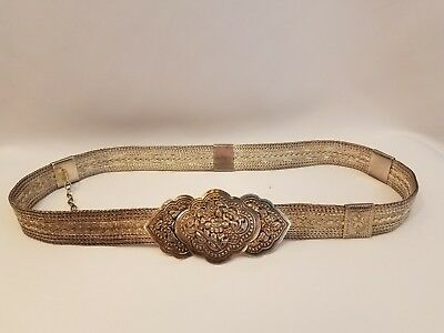 """Antique RAJASTHAN INDIA BELT Silver Braided Woven Floral Statement Piece S 29.5"""""""