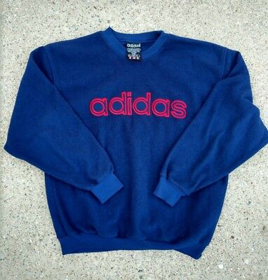 Vintage 90s Adidas fleece Sweatshirt heavy embroidery Spell Out Mens Large Rare