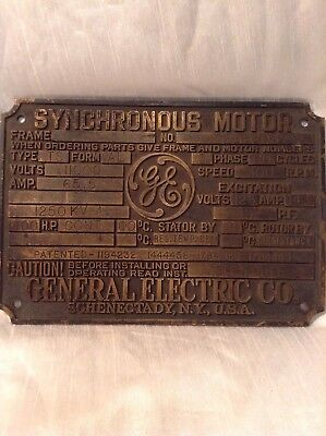 Vintage GE GENERAL ELECTRIC Heavy Brass Synchronous Motor Plate/Sign