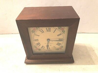 Antique Seth Thomas 8-Day Automatic Alarm Clock Floral Face Wind Up