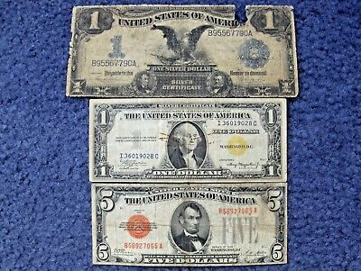 Variety Lot Of Three Different Types Of U.s. Notes Circulated Currency/bills