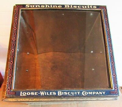 Vintage LOOSE WILES BISCUIT SUNSHINE BISCUITS Tin & Glass Lid On Barn Wood Box