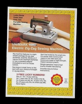 OBSOLETE MERCHANDISE PUNCH CARD, COULD HAVE WON A ZIG-ZAG SEWING MACHINE, 1970's
