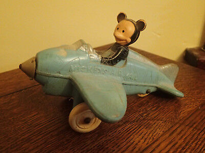 Antique VTG Blue Mickey's Mouse Air Mail  Rubber Toy Airplane