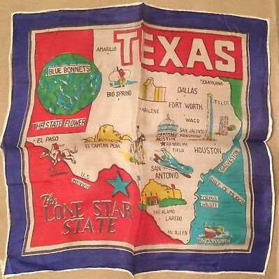 """Vintage Pre-WWII Texas Silk Scarf Flag Hand Rolled In Japan 10.5"""" x 10.5"""" Blue"""