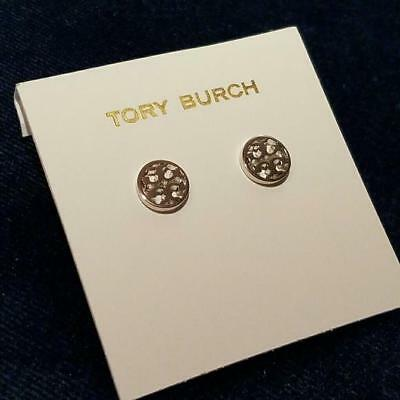 Tory Burch Circle Logo Stud Earrings Silver