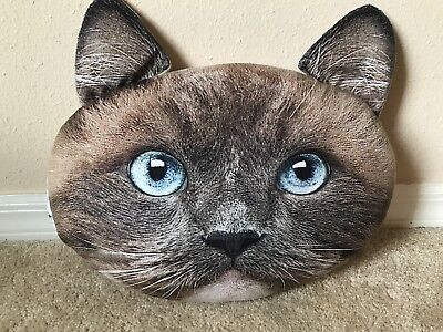 Ragdoll Kitty Cat Face Shaped Pillow Grey Gray w Blue Eyes by Plush Expressions