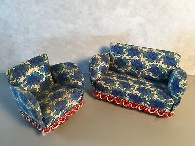 Vintage Lundby dollhouse sofa and armchair blue floral 60s-70s 1:16