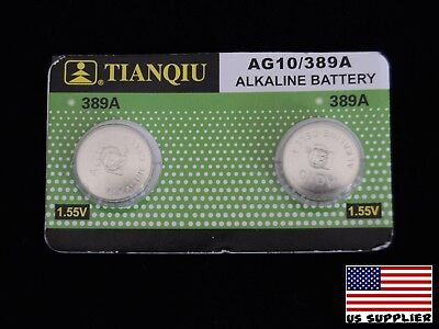 LR1130 AG10 LR54 389A Button Cell Alkaline Battery 1.5V Pack of 2 USA supplier