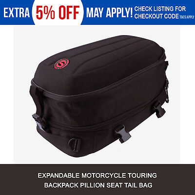 Black Expandable Motorcycle Touring Backpack Pillion Seat Tail Bag for Honda AU