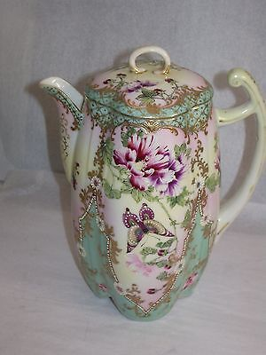 Antique Japanese porcelain Moriage Nippon chocolate pot floral and butterflies