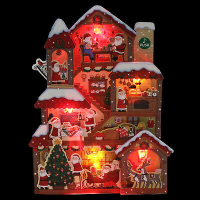 Illuminated Santa Claus Christmas Home Lights and 20 Melodies Pop Up Card