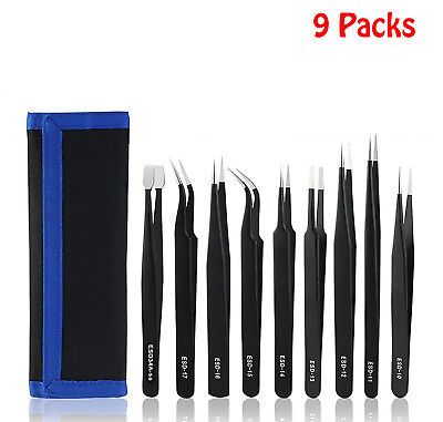 NEW Professional Coated Precision ESD Non-Magnetic Stainless Steel Tweezers Set