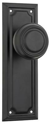 pair matt black edwardian door handles,round knob backplates,185 x 60mm