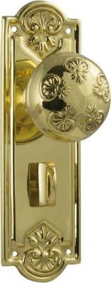 TH1053P privacy set brass nouveau ornate round knobs with backplates,188 x 58