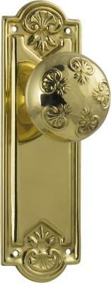 pair of polished brass nouveau ornate round door knobs with backplates,188 x 58