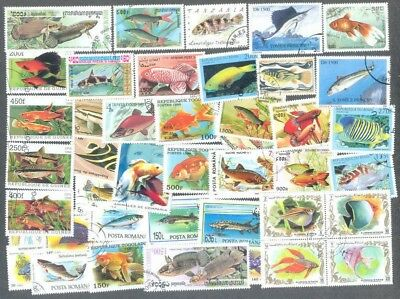 Fish- 100 all different stamp collection