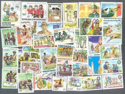 Scouts 100 all different stamp collection-(a few guides)
