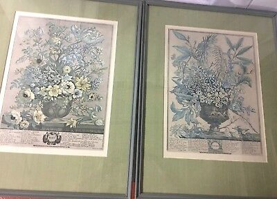 "Robert Furber Framed Pair 12 Months of Flowers ""May"" & June Lithograph"