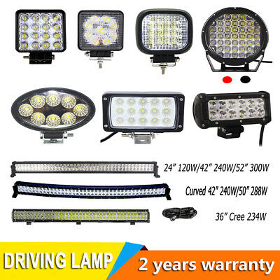 "LED Work Light Bar Flood/Spot offroad 24W 27W 36W 45W 48W 185,24"" 42"" 52""+Wiring"