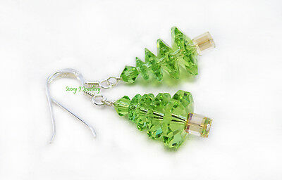 CRYSTAL Christmas Tree Earrings Peridot Green SWAROVSKI ELEMENTS