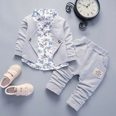 393b38a03abd Toddler Kids Baby Boys Gentleman Bow Shirt+Jeans Wedding Party Suit Clothes  Set