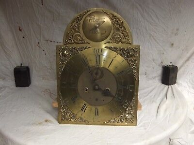 Antique 8 Day Grand Father Clock Movement And Dial