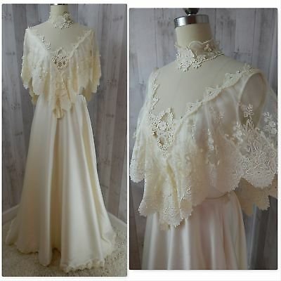 1970s Vintage Wedding Dress/Gown IVORY SATIN PEARLS APPLIQUE~ALFRED ANGELO~Sml