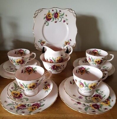 Vintage TUSCAN China Pansy Cream Tea Set – Cake Plate, 4 Trios, Sugar Bowl & Jug