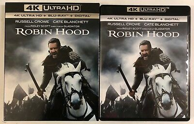Robin Hood 4K Ultra Hd Blu Ray 2 Disc Set + Slipcover Sleeve Free World Shipping