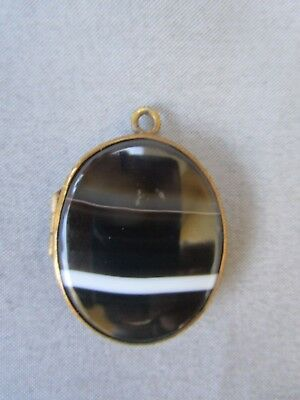 Antique Victorian Art Nouveau Agate Photo Locket Pendant