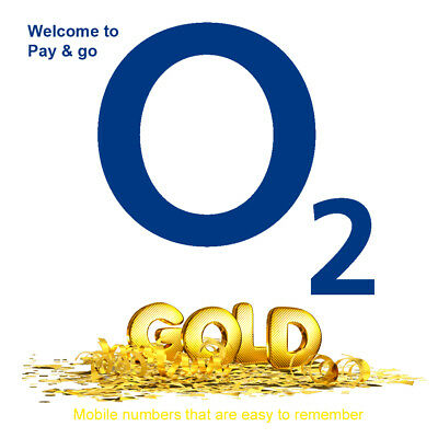 O2 Pay As You Go Gold VIP Easy Number PAYG SIM Card Memorable Mobile Number