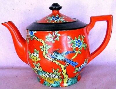 Japanese Vintage Teapot........Nice Bright Colors.... Bird in foilage.....signed