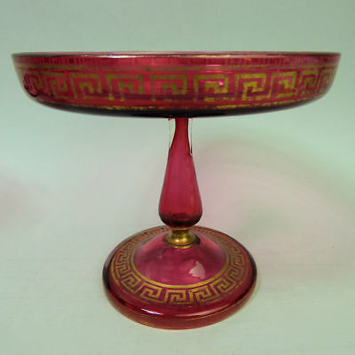 Antique Victorian French Cranberry & Gilt Glass Tazza C.1880
