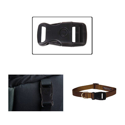 25mm x 67mm Black Plastic Buckle Adjustable Side Release Clasp Webbing Bag Strap