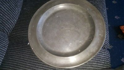 Antique Pewter Plate 15""