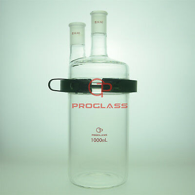 Proglass Glass Separate Flask 1000mL Two Necks with Easy Open PTFE Clamp