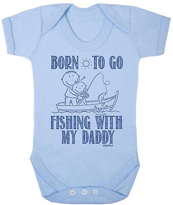 BORN TO GO FISHING With My Daddy Boys Funny Babygrow Bodysuit Vest Gift For Dad