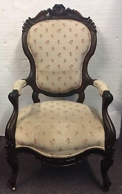 Ca. 1860 American Victorian Rococo Rosewood Floral Carved Armchair Henkles Style
