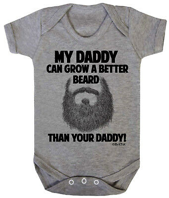 My DADDY Can Grow A Better BEARD Than Your Dad Funny Boys Girls Baby Grow Vest